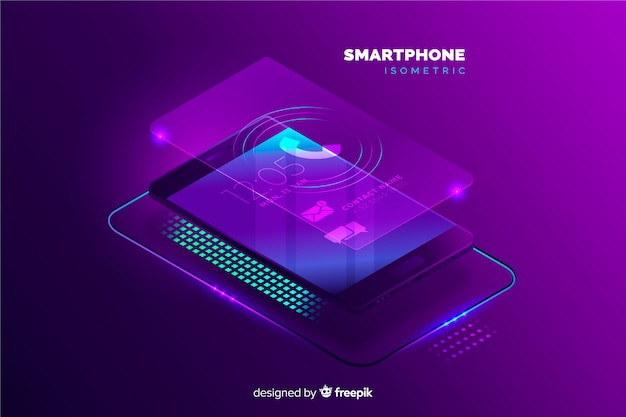 Isometric mobile phone background template Free Vector