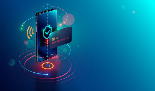 Isometric mobile phone and internet banking Premium Vector