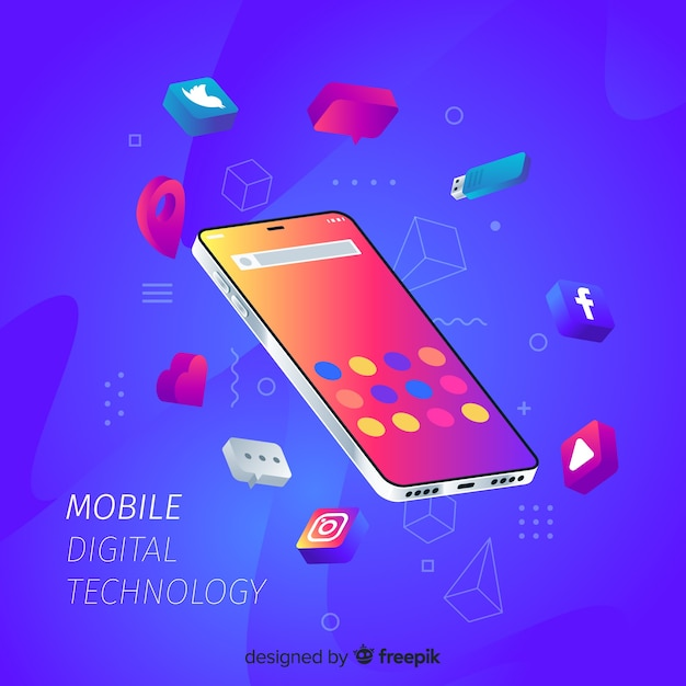 Isometric mobile phone surrounded by apps Free Vector