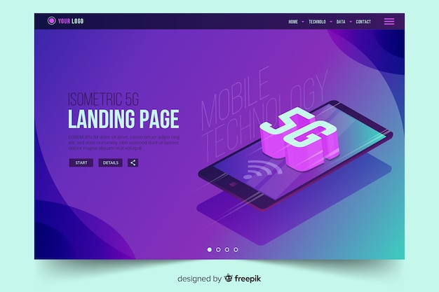 Isometric mobile phone with 5g landing page Free Vector