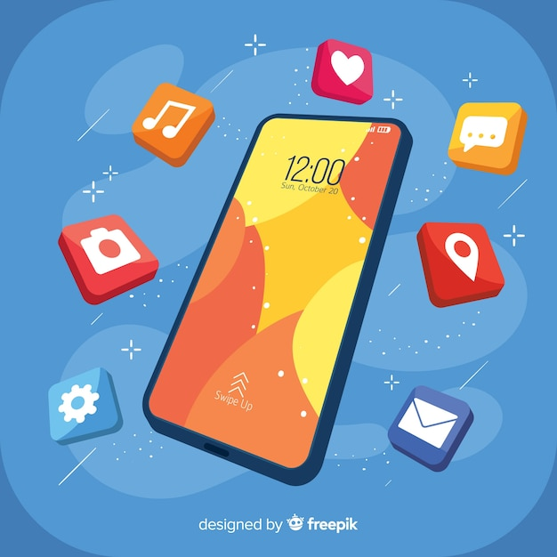 Isometric mobile phone with elements Free Vector