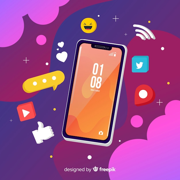 Isometric mobile phone with notifications Free Vector