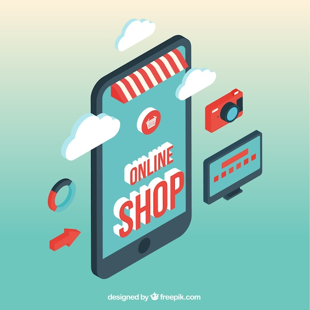 Isometric mobile screen and online store