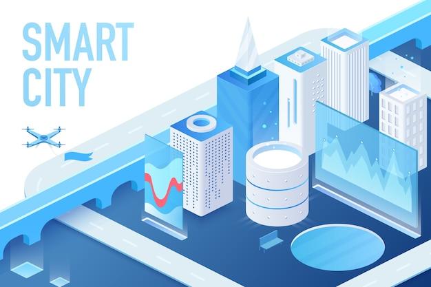 データセンター、サーバー、マトリックスブロックチェーンの建物の図を含む現代のスマートシティのアイソメトリックモデル Premiumベクター