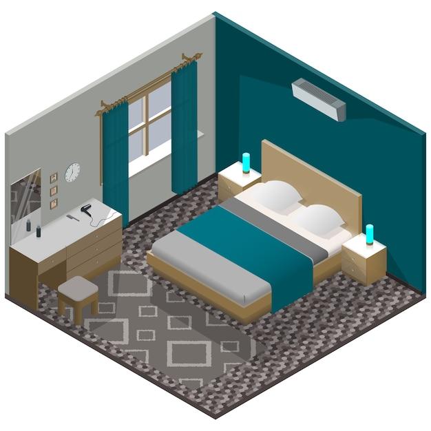 詳細な家具と等尺性のモダンなベッドルーム Premiumベクター