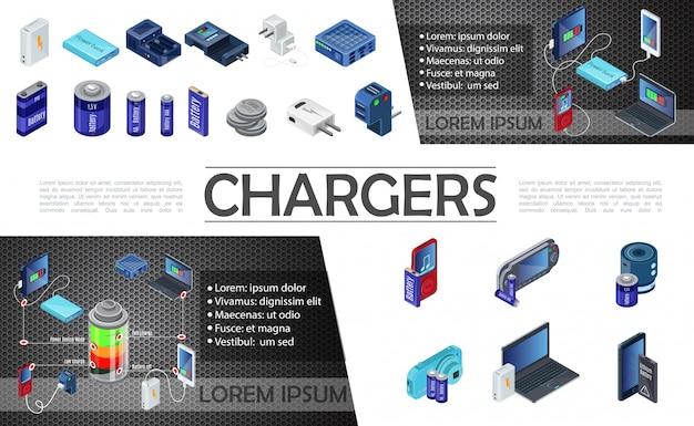 Composizione di caricabatterie moderni isometrici con power bank e batterie di diversa capacità per il portatile fotocamera portatile lettore audio Vettore gratuito