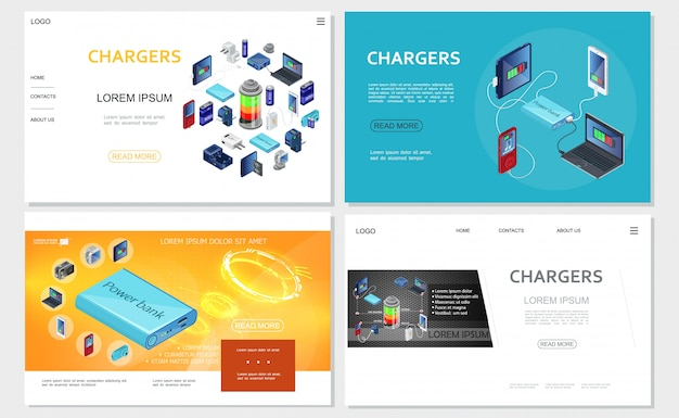 Isometric modern chargers websites set with power bank batteries portable charging sources for electronic devices Free Vector