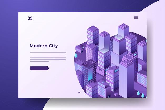 Isometric modern city banner Premium Vector