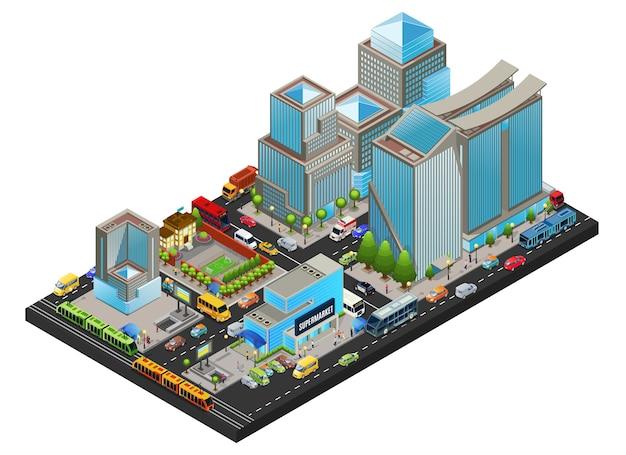 等尺性のモダンな街並みのコンセプト 無料ベクター