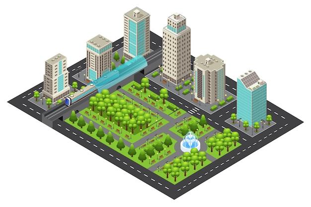 Концепция изометрические современный городской пейзаж Premium векторы