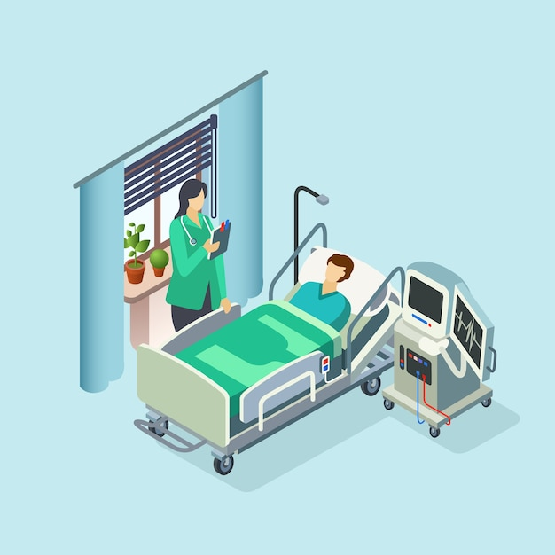 Isometric modern hospital room, ward with male patient in bed Free Vector