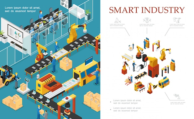 Isometric modern industrial production composition with automated assembly and packaging lines robotic arms engineers operators Free Vector