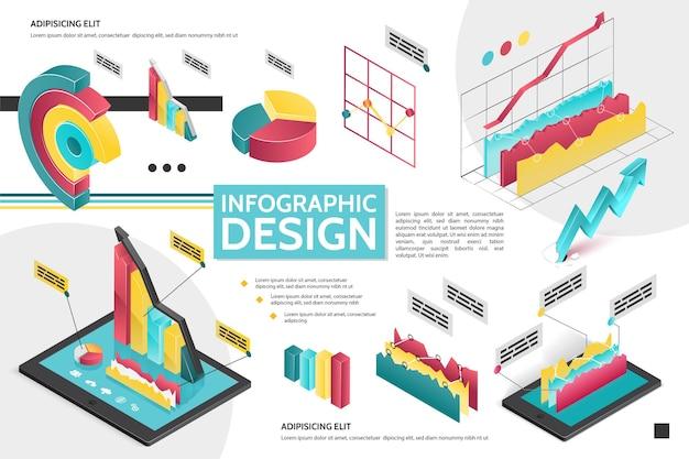 비즈니스 프레젠테이션 그림에 대한 다이어그램 그래프 원형 차트와 아이소 메트릭 현대 인포 그래픽 개념 무료 벡터