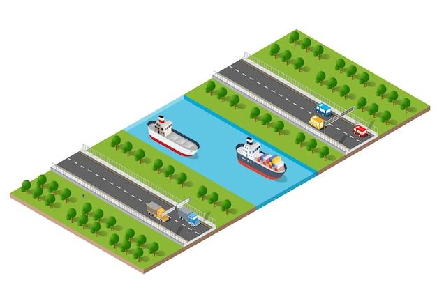 Изометрические современный современный город с набережной реки воды. примеры транспортных маршрутов, улиц с автомобилями, лодками и кораблями Premium векторы
