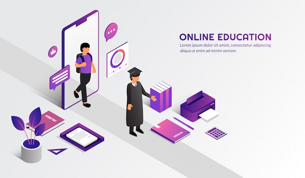 Isometric modern online education concept, learn form home by e-learning course Premium Vector