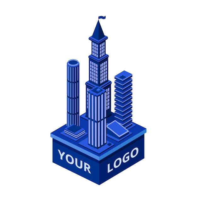 Isometric modern skyscraper with your logo\ space. Urban architecture construction