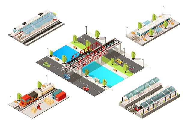 Isometric modern trains concept with passenger freight railway vehicles subway and bridge railroad isolated Free Vector