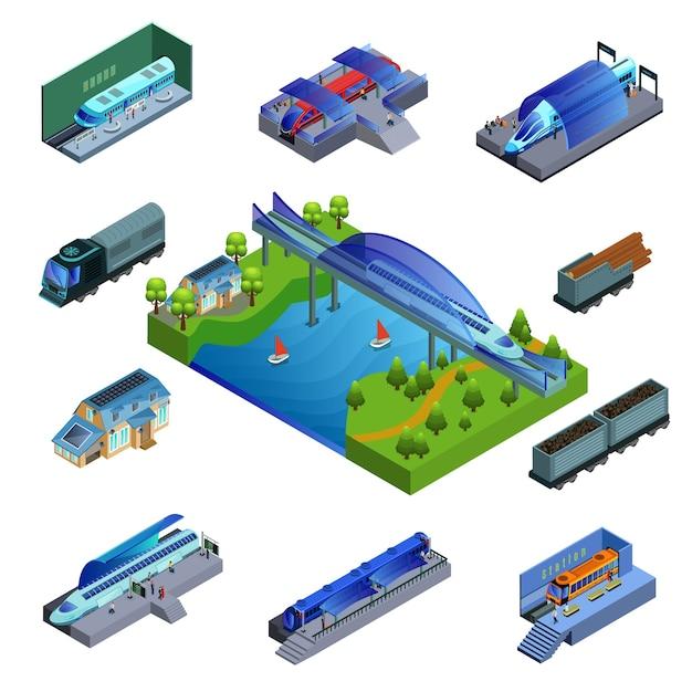 Концепция изометрические современные поезда Premium векторы