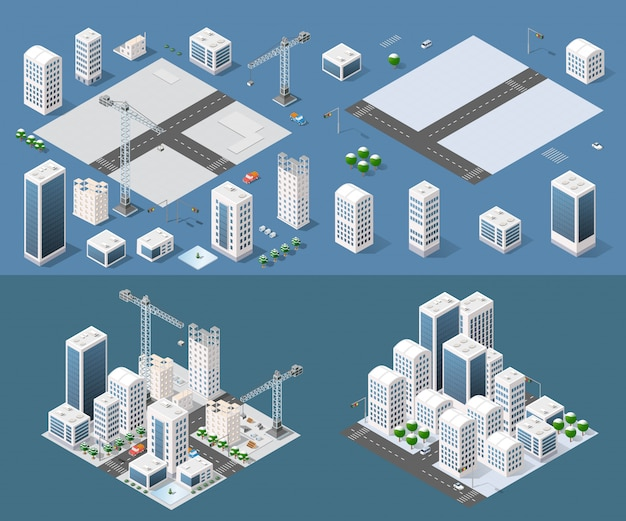 Isometric module is area landscape Premium Vector
