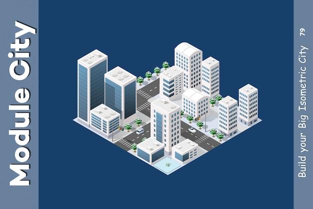 Isometric module is area landscape Premium Vector