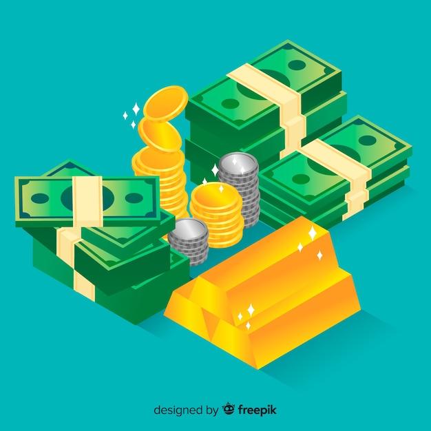 Isometric money background Free Vector