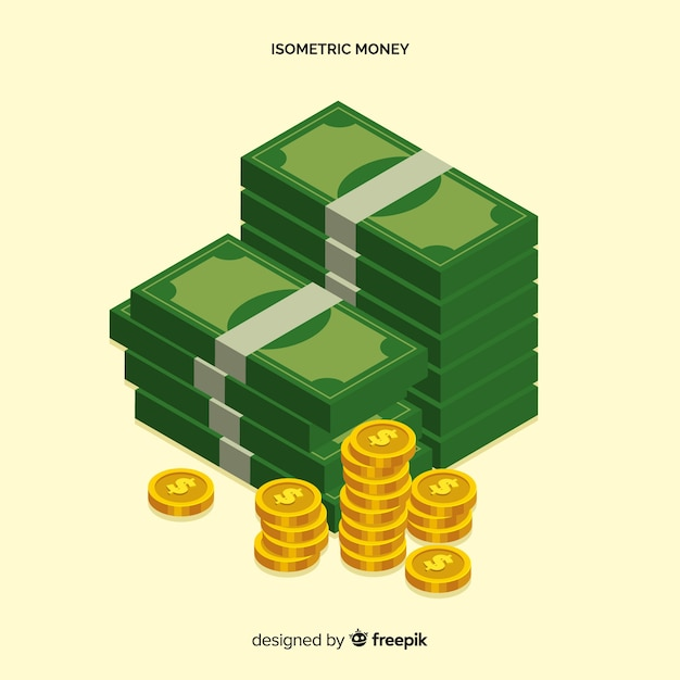 Isometric money background Free Vector
