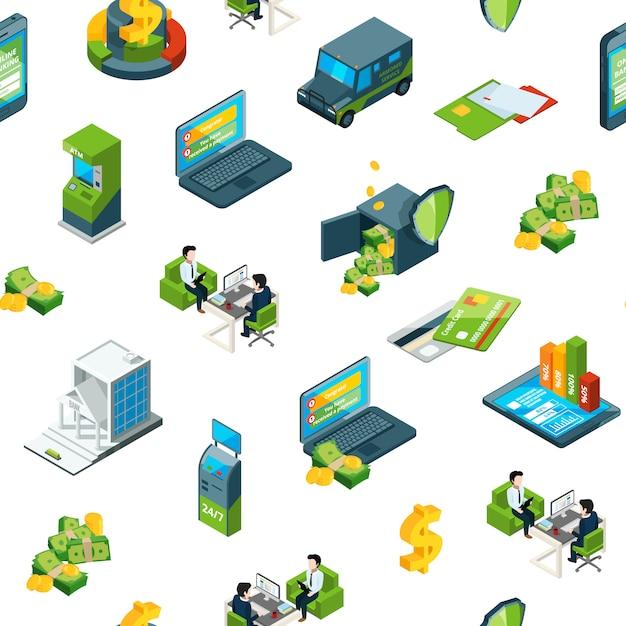 Isometric money bank icons Premium Vector