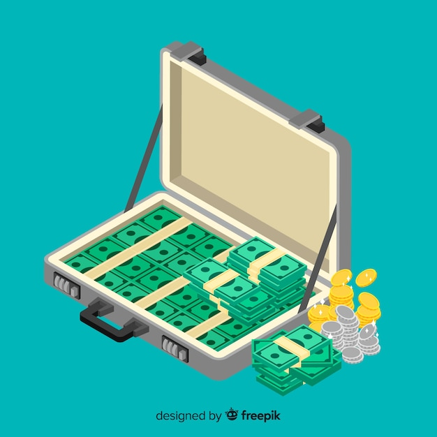 Isometric money briefcase background Free Vector