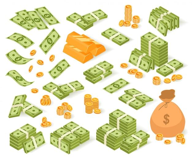 等尺性のお金のイラストセット、紙ドル紙幣、コインバッグ、白地に金の延べ棒のお金のスタックの漫画コレクション Premiumベクター