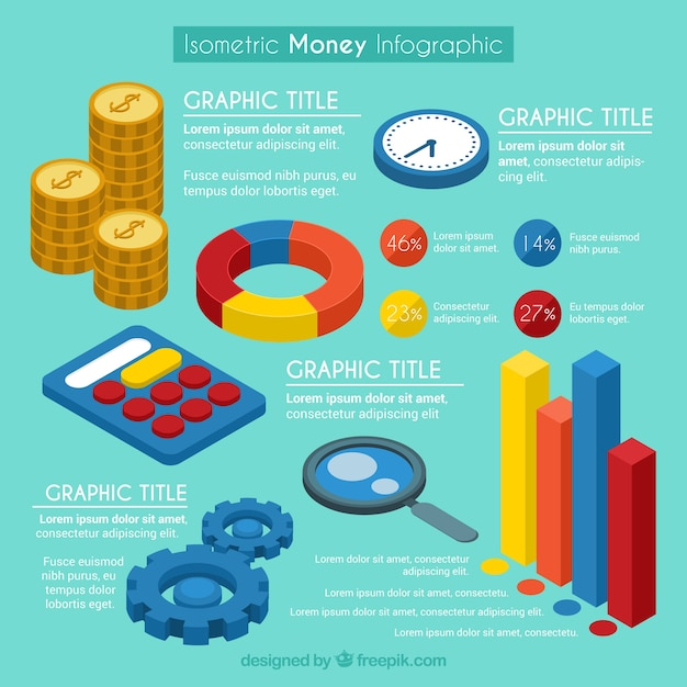 isometric money infographic template vector free download