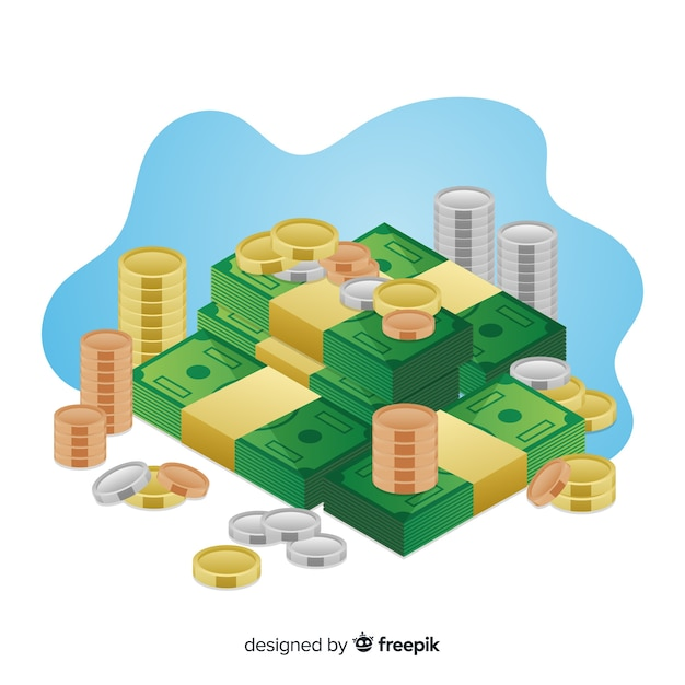 Isometric money saving concept background Free Vector