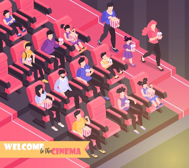 Isometric movie cinema composition background with indoor view of movie theater auditorium with chairs and audience  illustration Free Vector