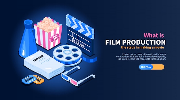 Isometric movie cinema flowchart concept with images of random cinema-related items text and slider button  illustration Free Vector