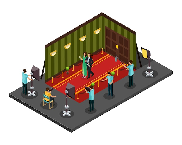 Изометрическая концепция кинопроизводства с профессиональными членами съемочной группы, снимающими фильм в студии Бесплатные векторы