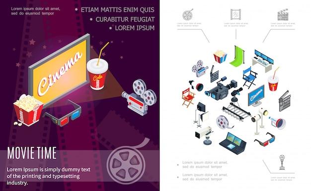Composizione del tempo del film isometrico con telecamere schermo soda popcorn occhiali 3d hromakey ciak regista sedia bobina di film megafono proiettori console di registrazione audio Vettore gratuito