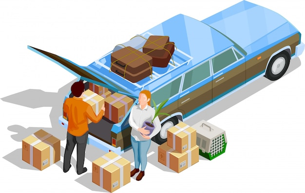 Isometric moving people illustration Free Vector