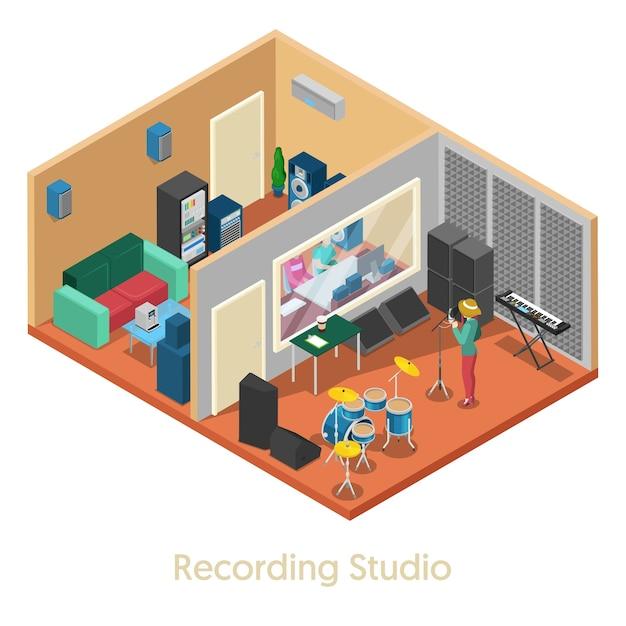 歌手と等尺性音楽レコーディングスタジオインテリア。ベクトル3 dフラットイラスト Premiumベクター