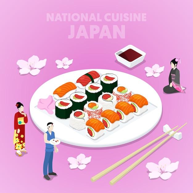 寿司と伝統的な服を着た日本人と等尺性の国立料理日本。ベクトル3 dフラットイラスト Premiumベクター