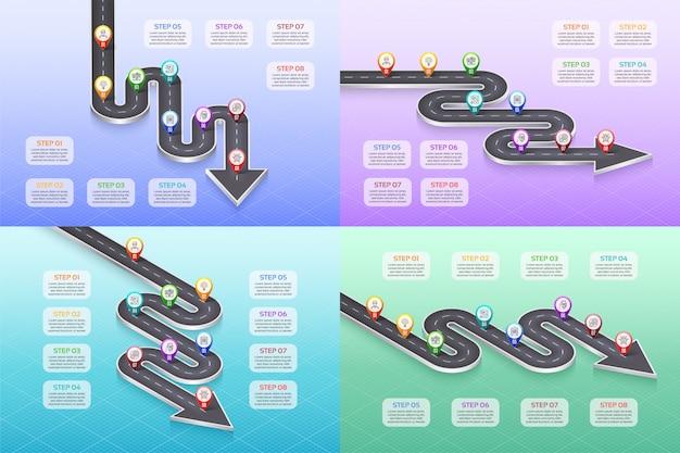 Isometric navigation map infographic 8 steps timeline concept. Premium Vector
