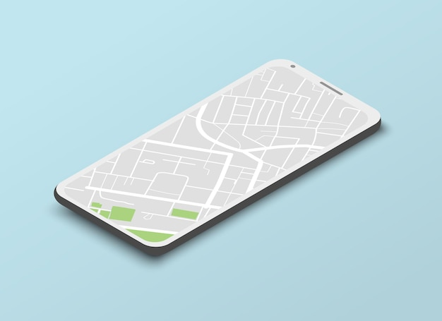 Isometric navigation template with city map on mobile screen on light blue