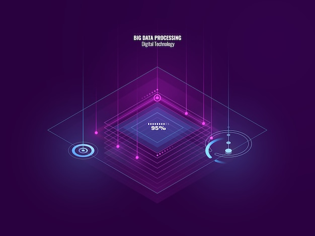 Isometric neon banner of digital technology, big data processing, server room, future of tech Free Vector