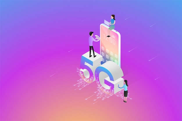 Isometric new 5g wireless network the next generation of internet communications, on smartphone connectivity. Premium Vector