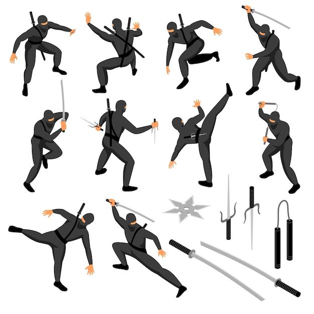 L'insieme isometrico del ninja dei caratteri umani isolati del guerriero in varie pose con le armi vector l'illustrazione Vettore gratuito