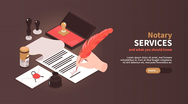 Isometric notary services horizontal banner with vintage workspace elements stamps and editable text with slider button Free Vector