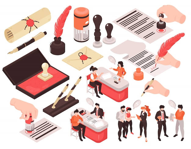 Isometric notary services set of isolated images with human characters thought bubbles and hands with pens Free Vector