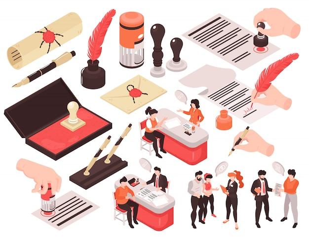 Изометрические нотариальные услуги набор изолированных изображений с человеческими персонажами мысли пузыри и руки с ручками Бесплатные векторы