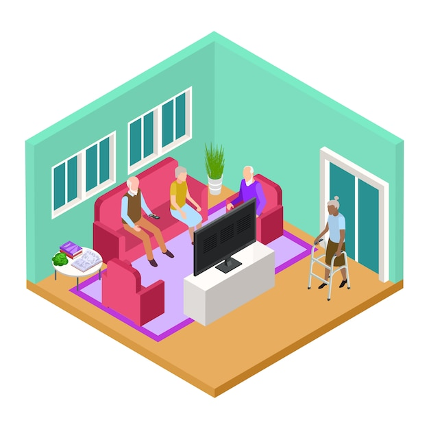 Isometric nursing home living room interior with old people vector concept Premium Vector