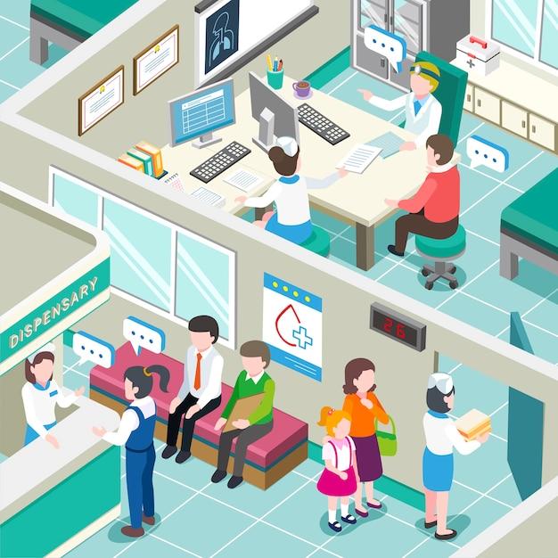 医療クリニック内部の等尺性 Premiumベクター