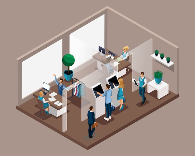 Isometric office of the bank, bank employees serve customers, electronic queue, entry to reception. the bank consultant tells about the advantages of cooperation Premium Vector
