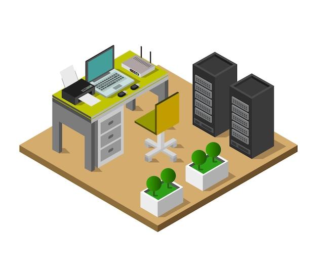 Изометрический офисный стол Premium векторы